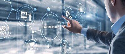 Sticker Partnership of companies. Collaboration. Business Technology Internet concept