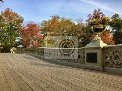 Passerelle en bois du pont de Bow à Central Park en automne