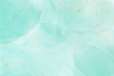 Sticker Pastel cyan mint liquid marble watercolor background with gold lines and brush stains. Teal turquoise marbled alcohol ink drawing effect. Vector illustration backdrop, watercolour wedding invitation
