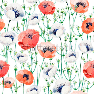 Sticker Pattern consist of white and coral Anemones, white inflorescences on the green stems.