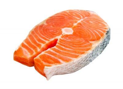 Sticker Pavé de saumon isolé sur fond blanc