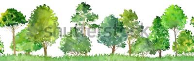 Sticker paysage aquarelle avec arbres à feuilles caduques, pins, arbustes et herbe, modèle sans couture, fond de nature abstraite, bordure de forêt, illustration dessinée à la main