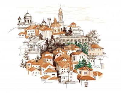 Sticker Paysage aquarelle avec illustration de maisons.