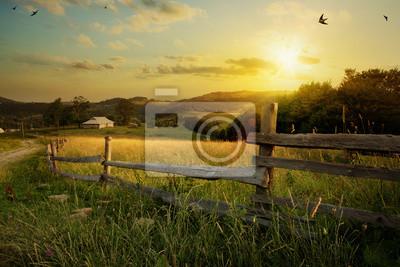 Sticker Paysage d'art; Ferme rurale et terrain agricole