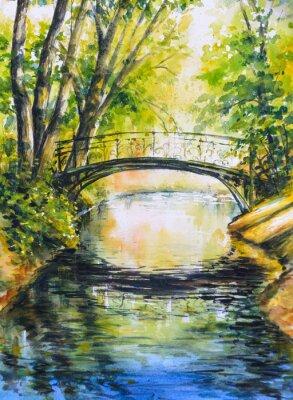 Sticker Paysage d'été avec le pont sur la rivière dans le parc. Image créée avec des aquarelles.