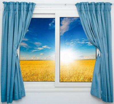 Sticker Paysage de la nature avec une vue à travers une fenêtre avec des rideaux