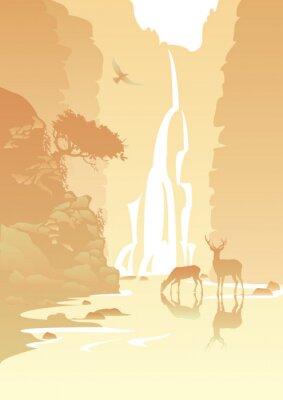 Sticker paysage de montagne avec une cascade