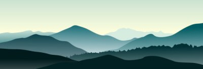Sticker Paysage de montagne dans la matinée d'été. Vecteur horizontal illustration.