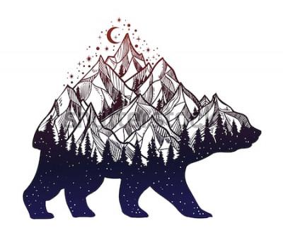 Sticker Paysage de montagne forêt ours et nuit, double exposition, art de tatouage de la faune, style fantastique. Illustration de vecteur isolé