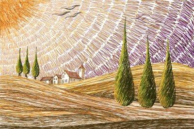 Sticker Paysage de Toscane - concept de peinture numérique