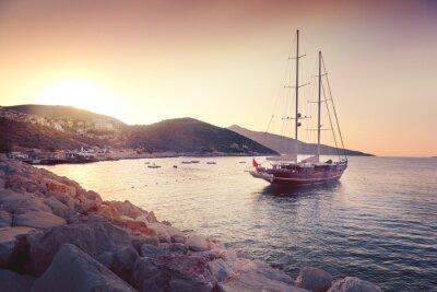 Sticker paysage magnifique avec de grands voiliers