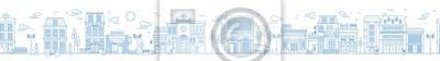 Sticker Paysage urbain sans soudure monochrome avec rue ou quartier. Paysage urbain avec des maisons d'habitation et des magasins dessinés avec des lignes de contour sur fond blanc. Illustration vectorielle d