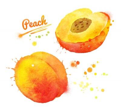 Sticker Peach Aquarelle.