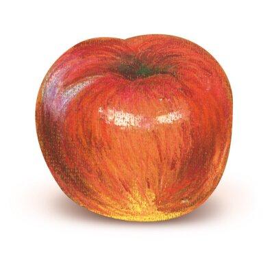 Sticker Peint, rouges, pomme, Coupure, sentier