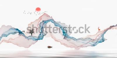 Sticker Peinture à l'encre, paysage artistique, fond de lignes abstraites
