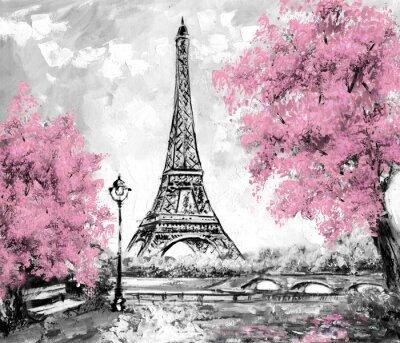 Sticker Peinture à l'huile, Paris. Paysage urbain européen. France, Fond d'écran, tour eiffel. Noir, blanc et rose, Art moderne