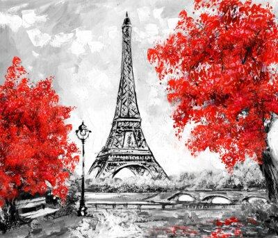 Sticker Peinture à l'huile, Paris. Paysage urbain européen. France, Fond d'écran, tour eiffel. Noir, blanc et rouge, Art moderne