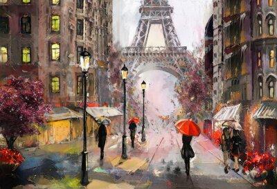 Sticker Peinture à l'huile sur toile, vue sur la rue de Paris. Ouvrages d'art. tour Eiffel . Personnes sous un parapluie rouge. Arbre. France