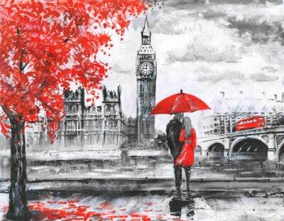 Sticker Peinture à l'huile sur toile, vue sur rue de londres, rivière et bus sur pont. Oeuvre. Big Ben. Homme, femme, sous, rouge, parapluie
