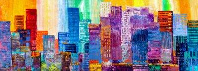 Sticker Peinture abstraite de gratte-ciel urbains.