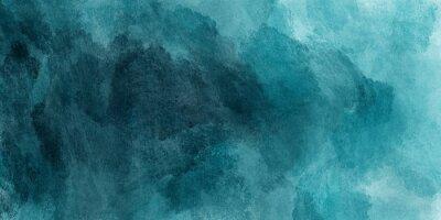 Sticker Peinture aquarelle abstraite par sarcelle couleur bleu et vert avec une texture fluide liquide pour le fond, bannière
