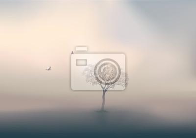 Sticker Pendant la saison d'hiver, le jour se lève sur un paysage de campagne, avec pour unique décor un arbre sans feuille perdu dans la brume.