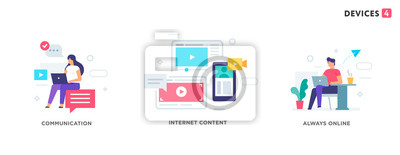 Sticker People use gadgets. set of icons, illustration. Smartphones tablets user interface social media.Flat illustration Icons infographics. Landing page site print poster.
