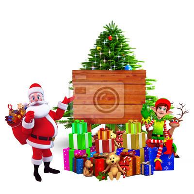 Père Noël avec beaucoup de cadeaux pointant vers panneau en bois
