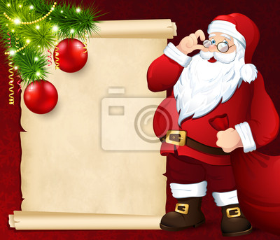 Père Noël avec la carte