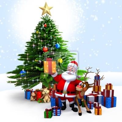 Père Noël avec ses rennes et des cadeaux devant l'arbre de Noël.