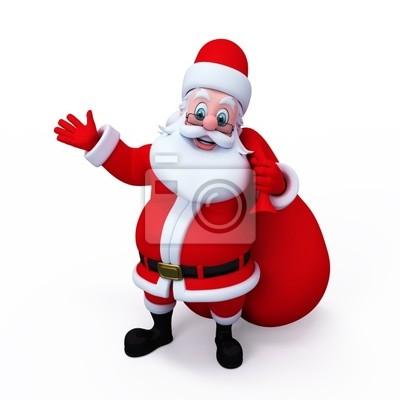 Père Noël avec un cadeau pointant vers l'espace vide