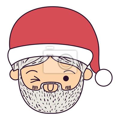 Sticker Père Noël Homme Kawaii Visage Clin Doeil Expression Oeil