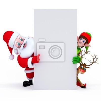 Père Noël, lutins et rennes avec signe