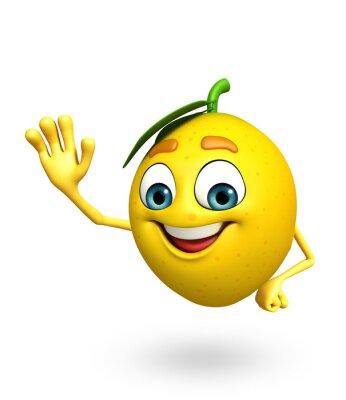 Sticker Personnage de dessin animé de citron