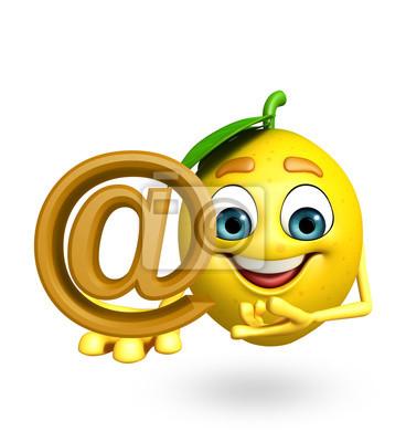 Personnage de dessin animé de citron avec le signe de taux