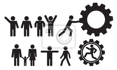 Sticker personne et les gens vecteur icône ensemble