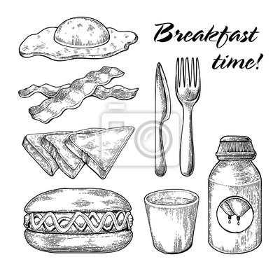 Sticker Petit Déjeuner Mis à La Main Dessin Ligne Noir Et Blanc Sur Fond