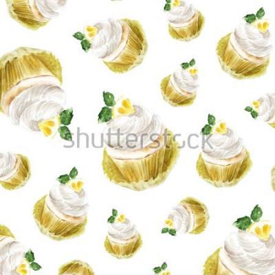 Sticker Petit gâteau au citron à la menthe, illustration de muffins à l'aquarelle. impression d'art, croquis de mode. boulangerie gâteau sucré fruits citrus.pattern