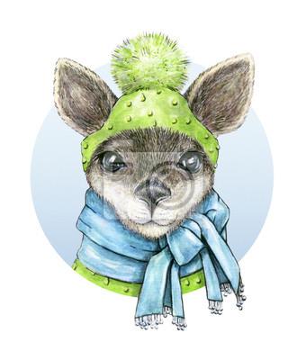 Petit kangourou. aquarelle