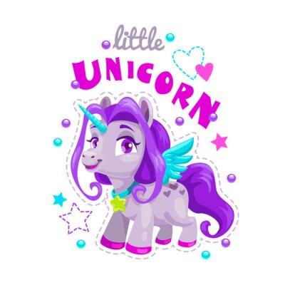 Sticker Petite étiquette de licorne de dessin animé mignon. Illustration de princesse douce poney.