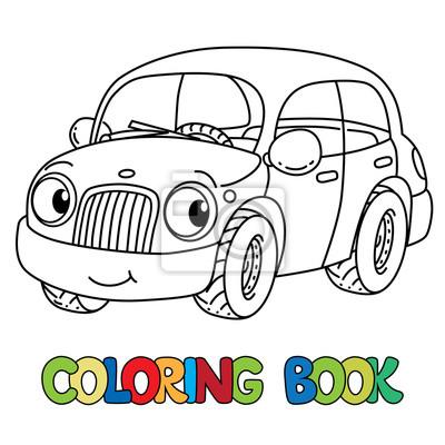 Petite Voiture Drole Aux Yeux Livre De Coloriage Autocollants Murales Coloration Taxis Voiture Myloview Fr