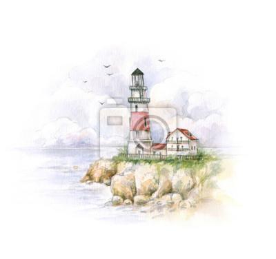 phare Aquarelle. Dessin d'un paysage de la mer