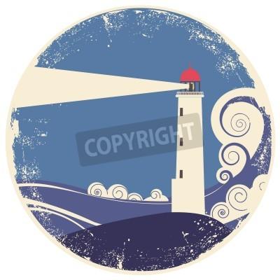 Sticker Phare dans la mer landscape.vintage illustration sur le vieux papier