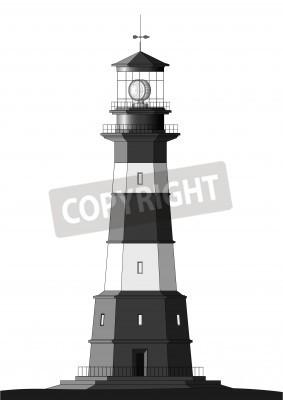 Sticker phare détaillée isolé sur blanc