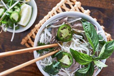 Sticker Photo aérienne du manger vietnamien boeuf pho