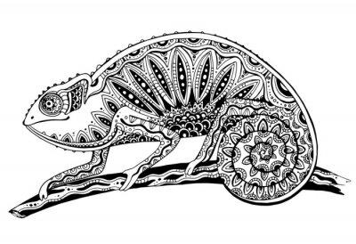 Sticker photo de lézard caméléon noir et blanc dans le style de tatouage