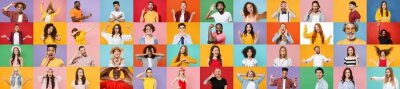Sticker Photo set collage of faces of multiethnic diverse emotional people, men and women group different ages wearing casual clothes isolated on colorful background studio portraits. Human facial expressions
