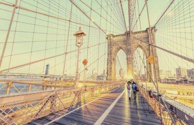 Sticker Photo vintage de Brooklyn Bridge à New York