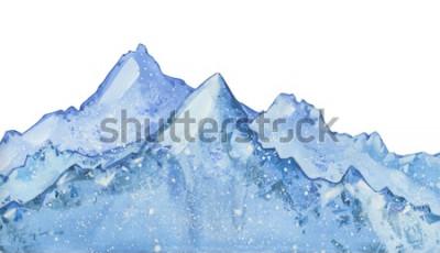 Sticker pic aquatique bleu hiver enneigé. Illustration d'hiver dessinés à la main sur fond blanc.