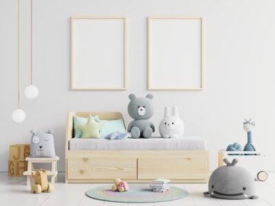 Sticker Picture Frames Hanging On Wall Over Toys At Home